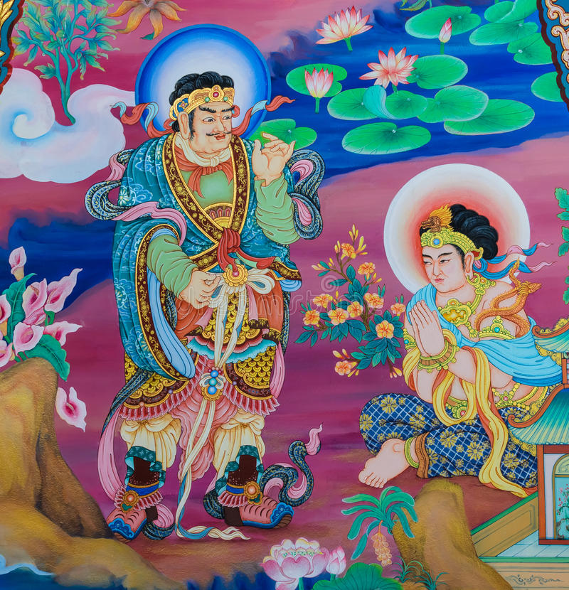 Het Chinese muurschildering schilderen stock afbeeldingen