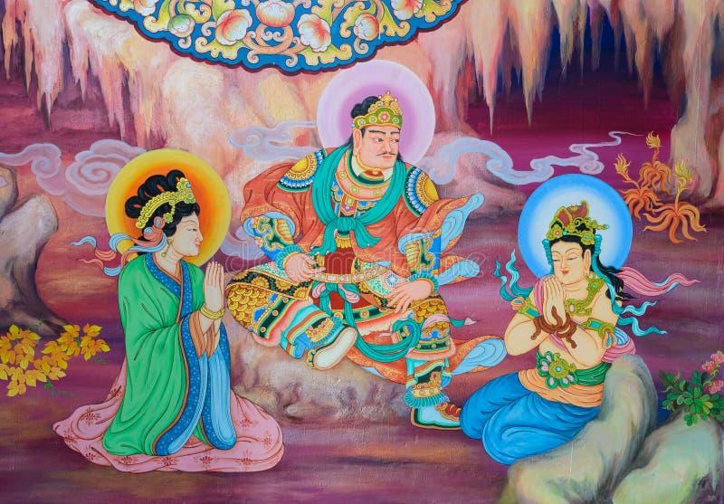 Het Chinese muurschildering schilderen royalty-vrije stock foto