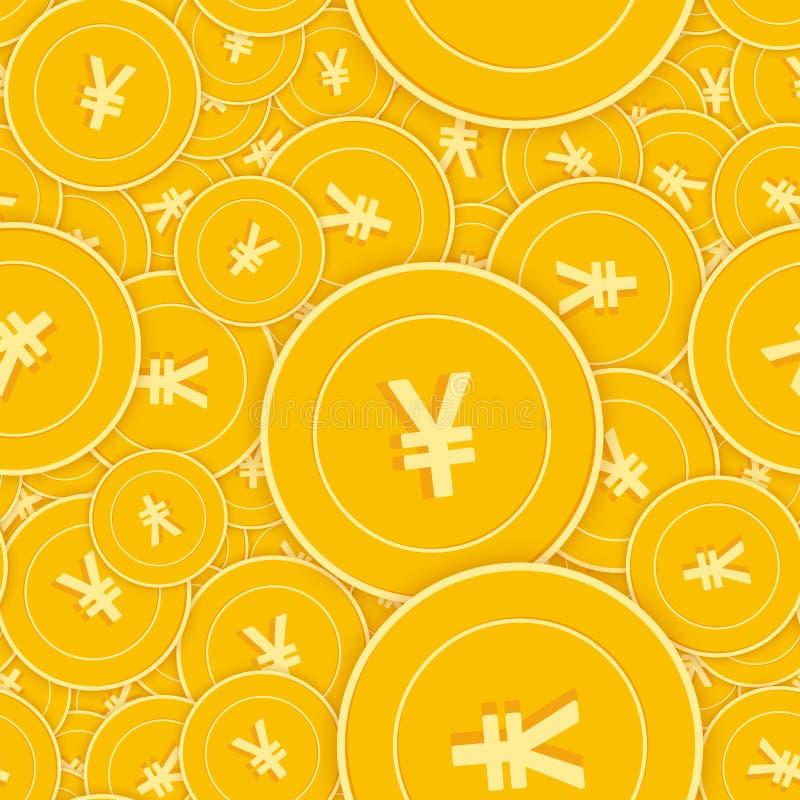 Het Chinese naadloze patroon van yuansmuntstukken Mooie verspreide CNY-muntstukken Groot winst of succesconcept China s vector illustratie