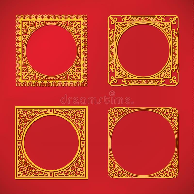 Het Chinese nieuwe kader van het jaarpatroon royalty-vrije illustratie