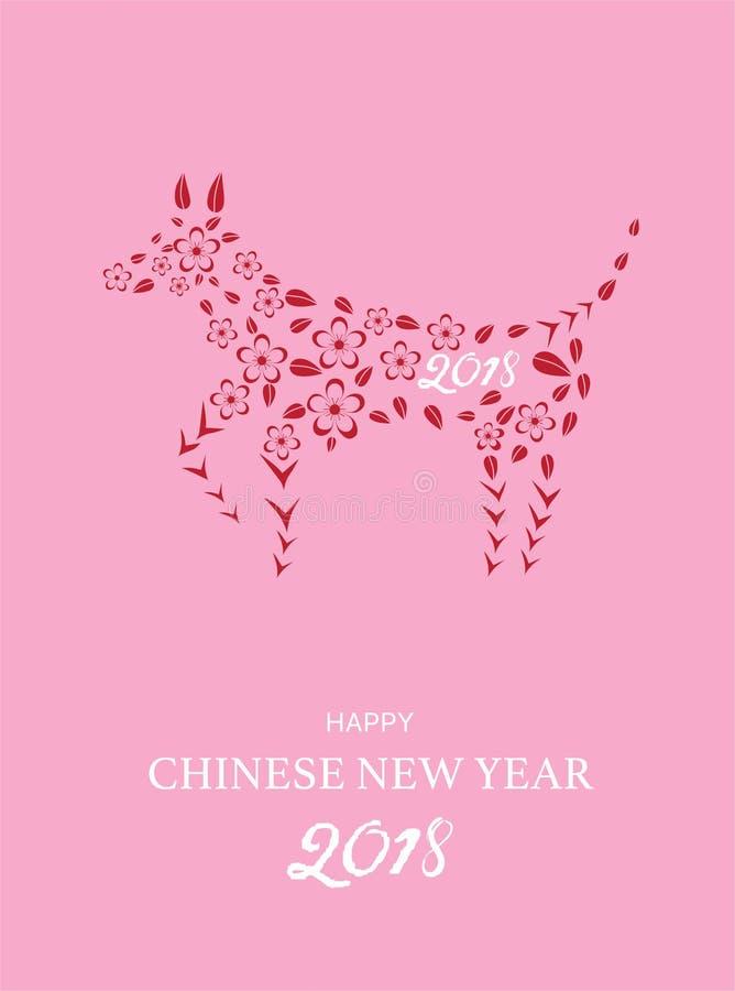 Het Chinese Ontwerp van de Nieuwjaar 2018 feestelijke kaart met honddierenriem, Vectorillustraties royalty-vrije illustratie