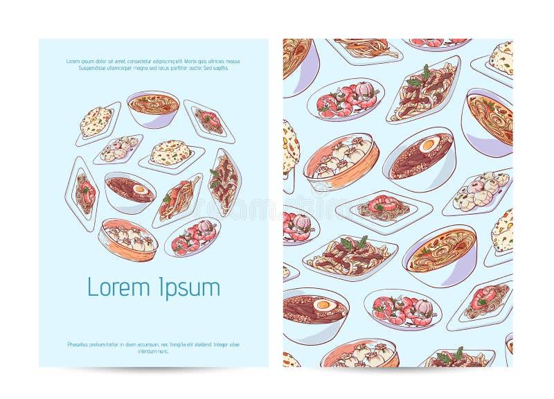 Het Chinese ontwerp van het restaurantmenu met Aziatische schotels stock illustratie