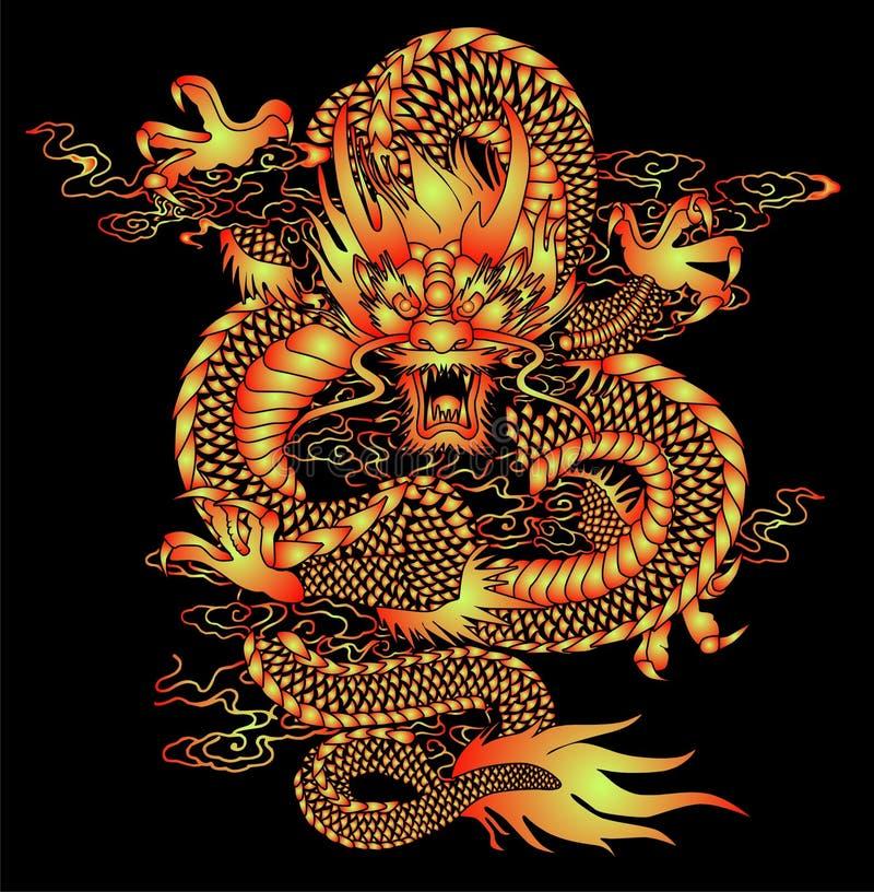 Het Chinese Patroon van de Draak royalty-vrije illustratie
