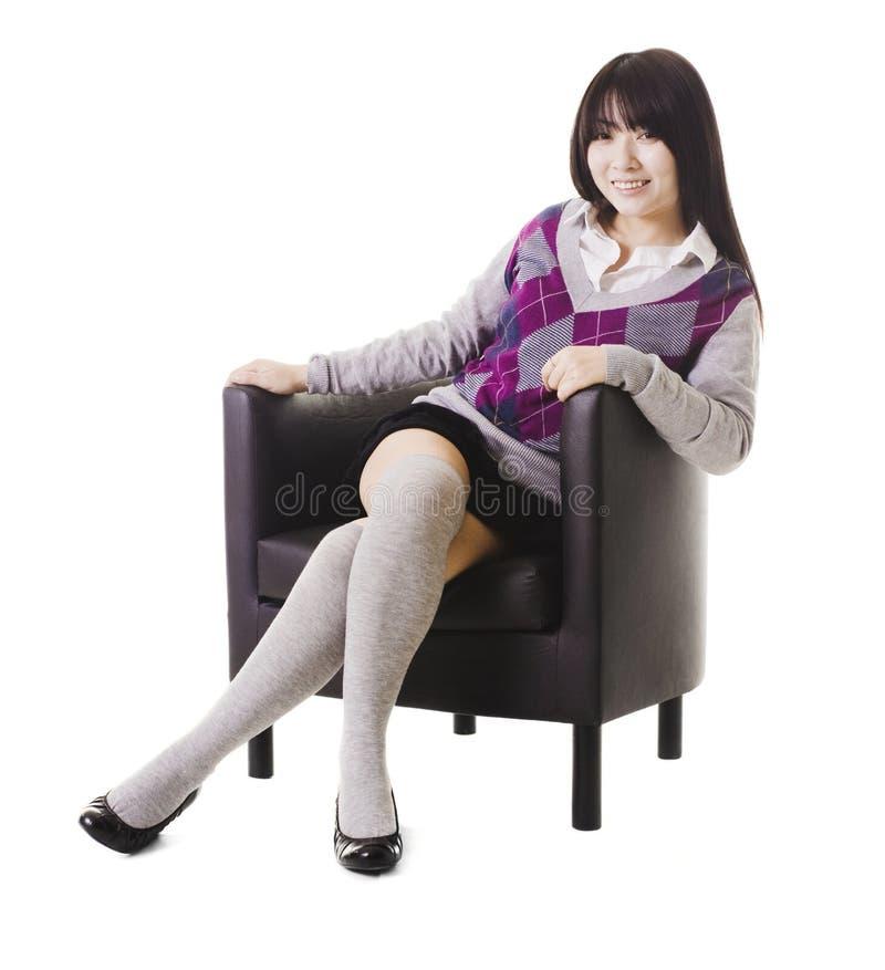 Het Chinese portret van het schoolmeisje. royalty-vrije stock afbeelding