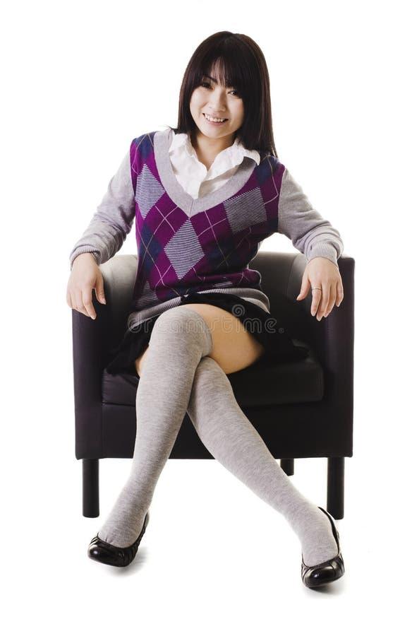 Het Chinese portret van het schoolmeisje. stock foto's