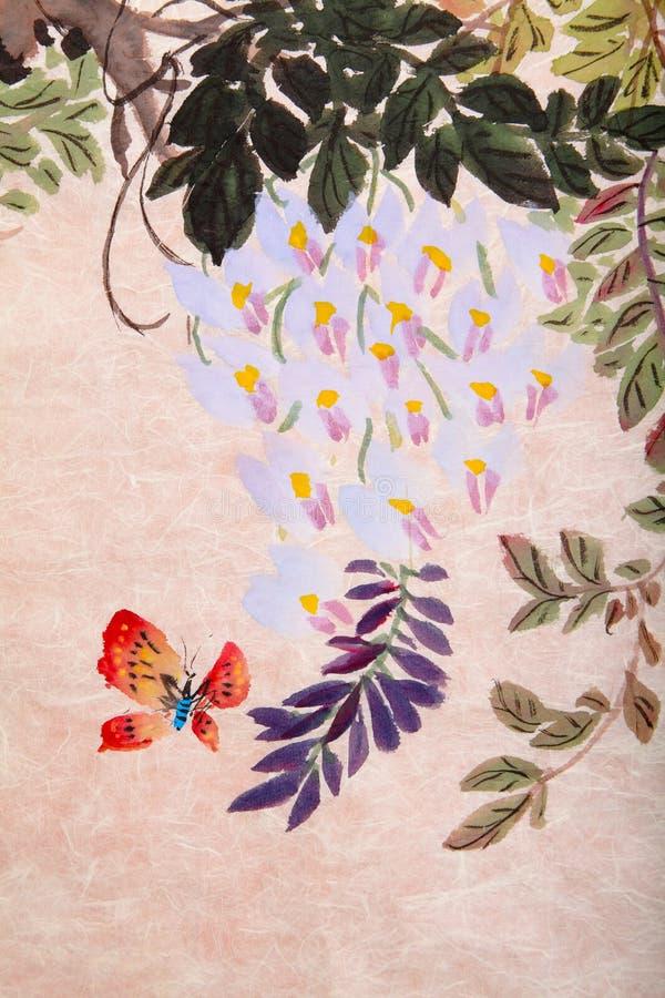 Het Chinese schilderen van bloemen en vlinder vector illustratie
