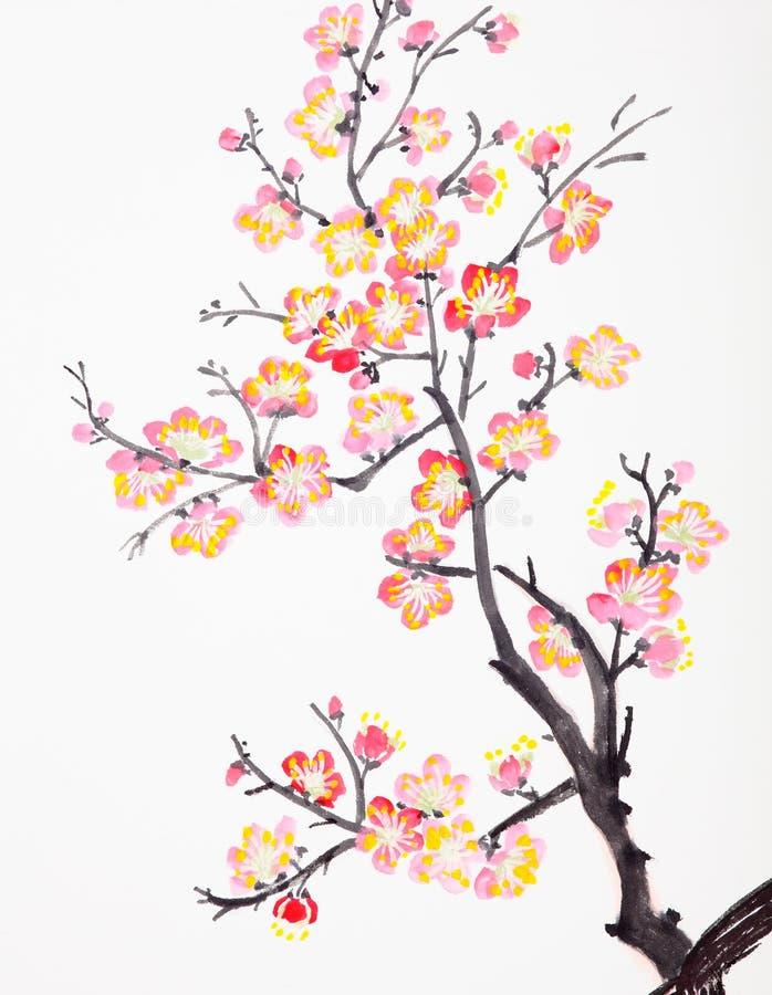 Het Chinese schilderen van bloemen, pruimbloesem royalty-vrije stock foto