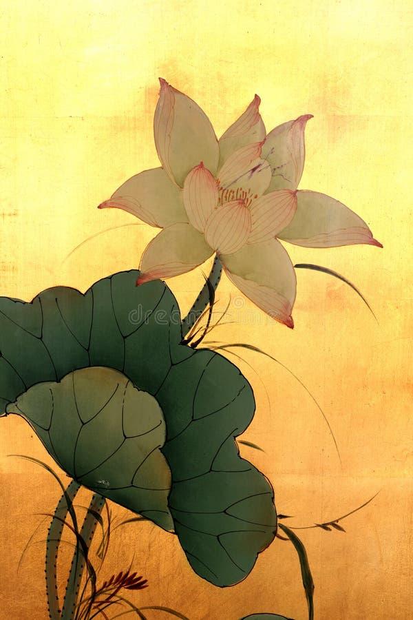 Het Chinese Schilderen van Lotus stock afbeelding