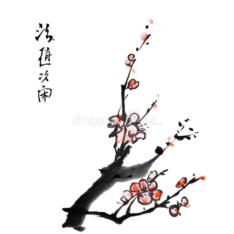Het Chinese schilderen van pruimbloesem stock illustratie