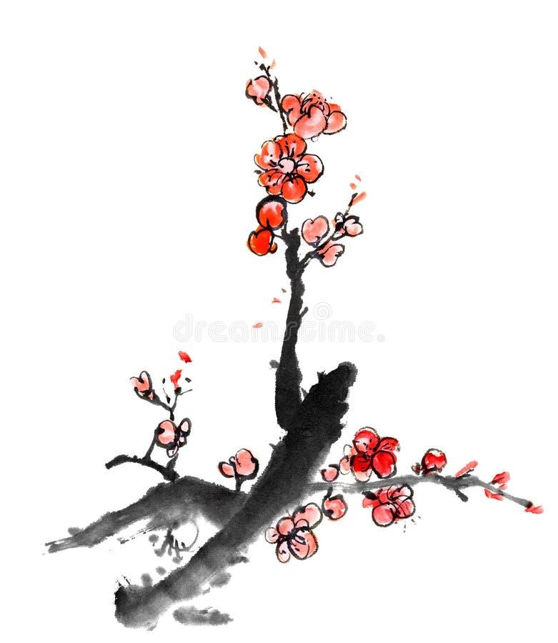 Het Chinese schilderen van pruimbloesem vector illustratie