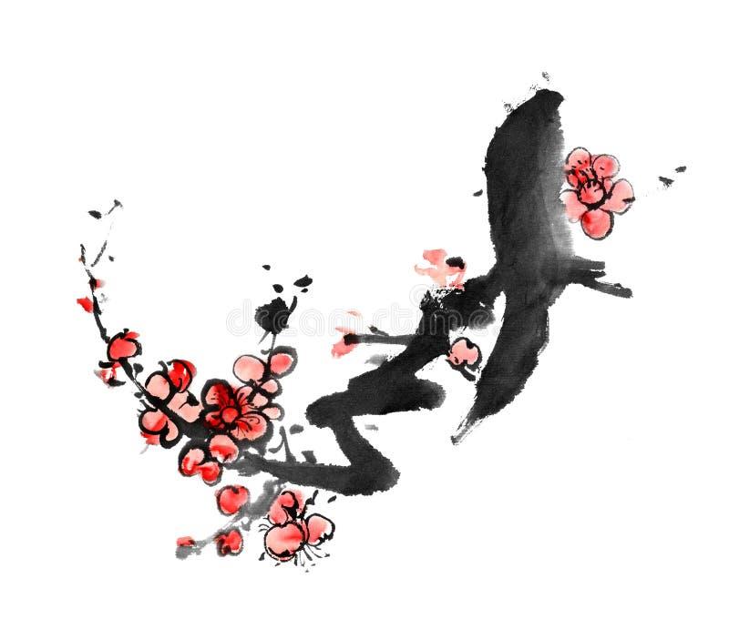 Het Chinese schilderen van pruimbloesem royalty-vrije illustratie