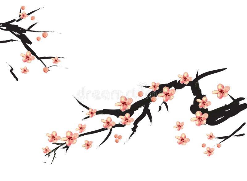 Het Chinese schilderen van roze pruim royalty-vrije illustratie