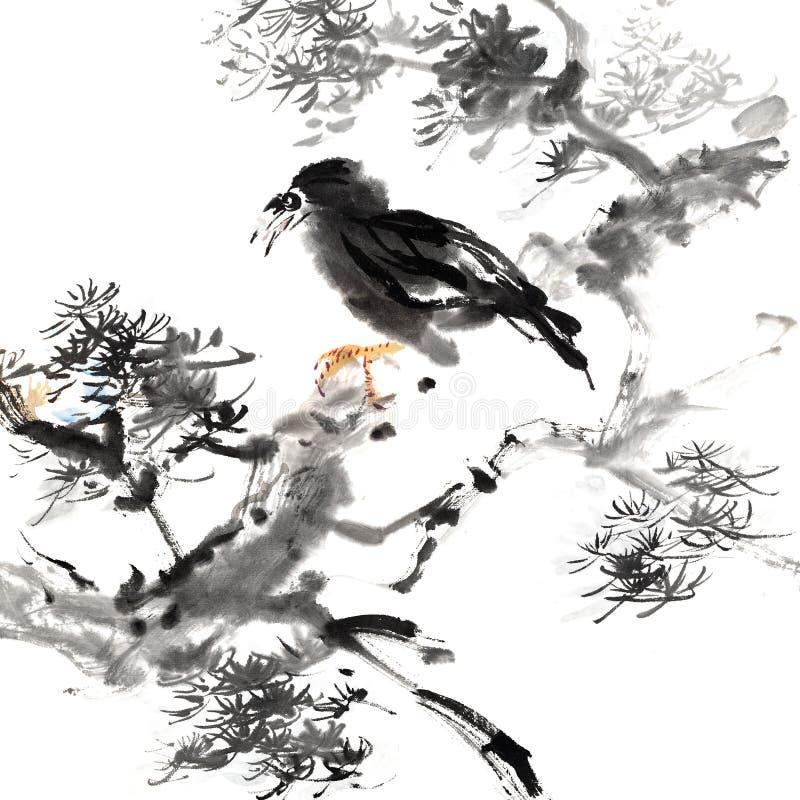 Het Chinese schilderen van vogel royalty-vrije illustratie