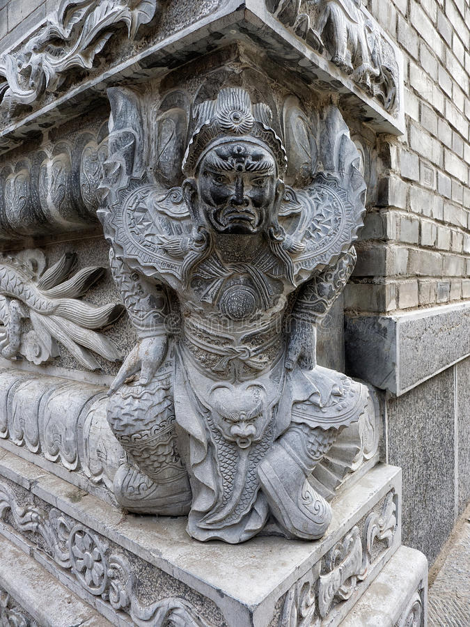 Het Chinese Standbeeld van de Strijder stock foto's