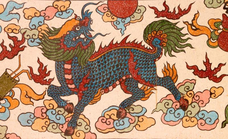 Het Chinese stijl schilderen op muur van heiligdom royalty-vrije stock fotografie