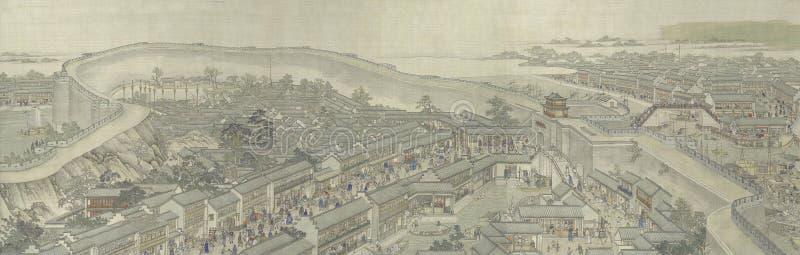 Het Chinese traditionele inkt schilderen royalty-vrije illustratie