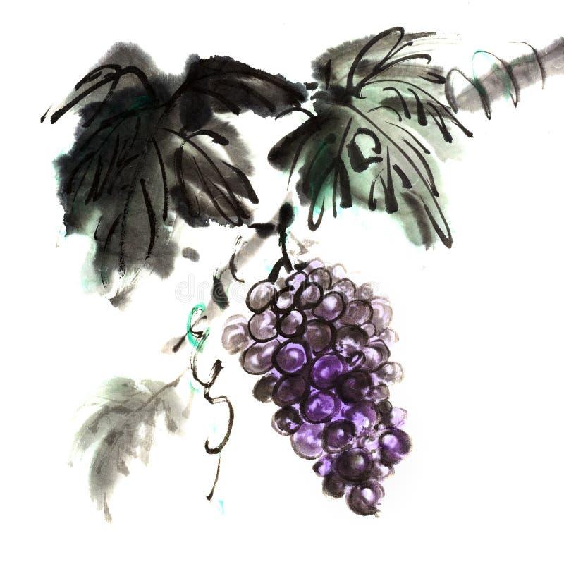 Het Chinese traditionele inkt schilderen van druiven stock illustratie