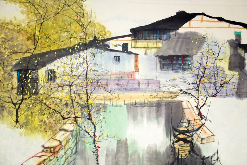 Het Chinese traditionele schilderen royalty-vrije illustratie
