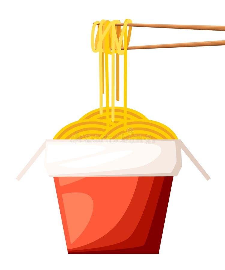 Het Chinese vakje van het restaurant meeneem rode voedsel met noedels en stokkenillustratie isoleerde op witte achtergrond websit stock illustratie