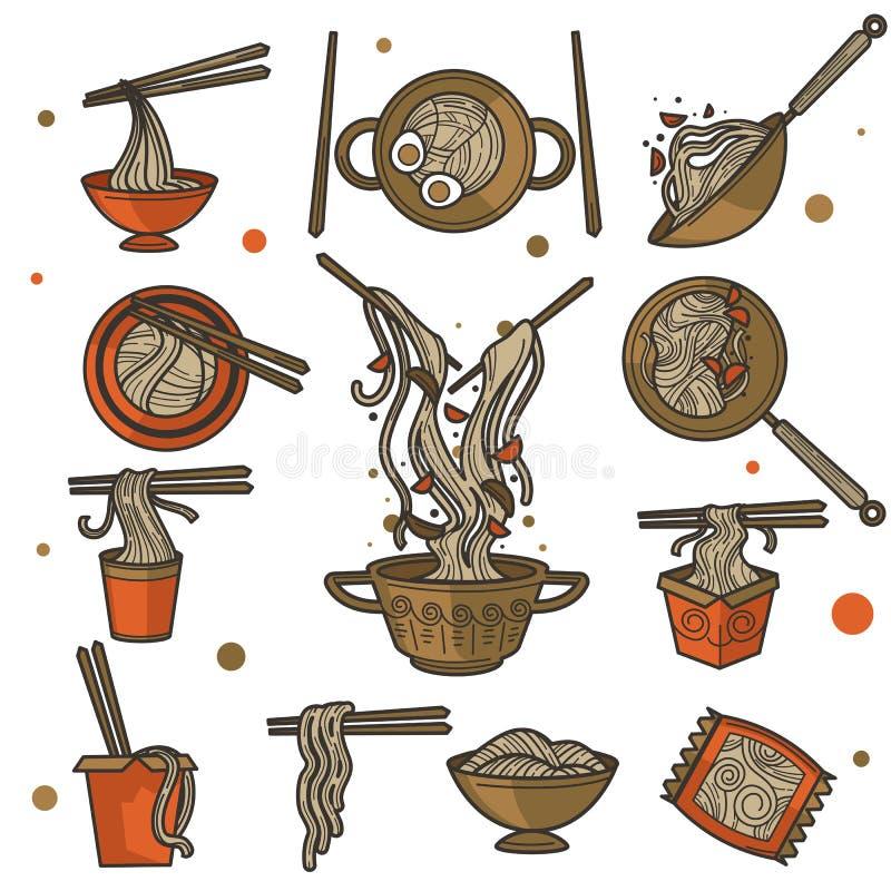 Het Chinese voedsel, noedels in kom of pak met eetstokjes, isoleerde schotels stock illustratie