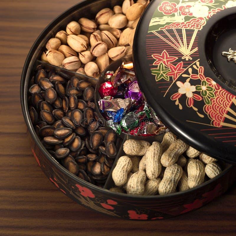 Het Chinese voedsel van het Nieuwjaar stock foto