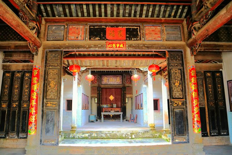 Het Chinese woodcarving en decoratie van Nanshe-dorpen royalty-vrije stock foto's