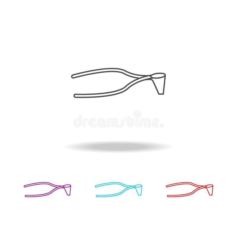 Het chirurgische pictogram van de schaarlijn Elementen van medische hulpmiddelen in multi gekleurde pictogrammen Grafisch het ont royalty-vrije illustratie