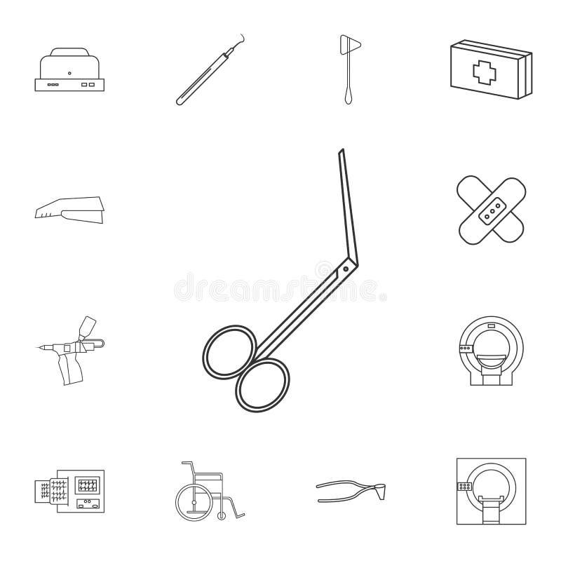 Het chirurgische pictogram van de schaarlijn Gedetailleerde reeks geneeskundehulpmiddelen Premie grafisch ontwerp Één van de inza royalty-vrije illustratie