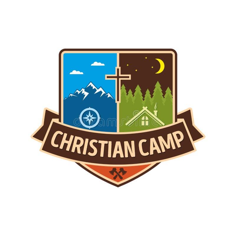 Het Christelijke kamp van de embleemzomer vector illustratie