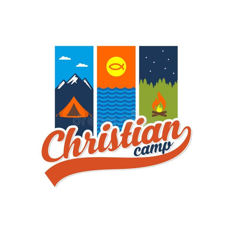 Het Christelijke kamp van de embleemzomer stock illustratie