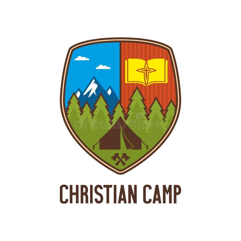 Het Christelijke kamp van de embleemzomer royalty-vrije illustratie