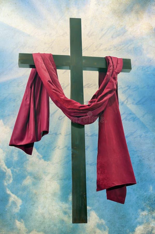 Groot christelijk kruis met zonstralen stock illustratie