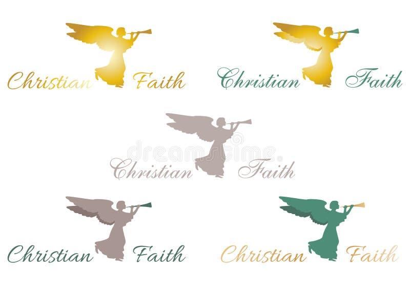 Het christelijke teken van de geloofsengel vector illustratie