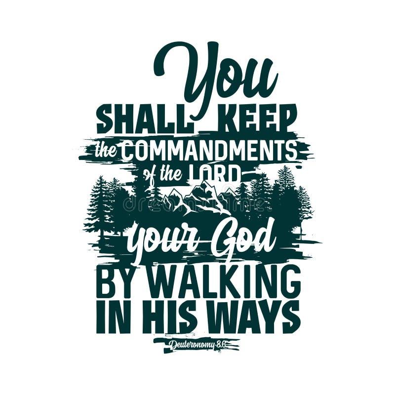 Het christelijke typografie en van letters voorzien Bijbelse illustratie U zult de bevelen van Lord houden vector illustratie