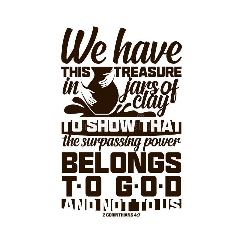 Het christelijke typografie en van letters voorzien Bijbelse illustratie Wij hebben deze schat in kruiken klei vector illustratie