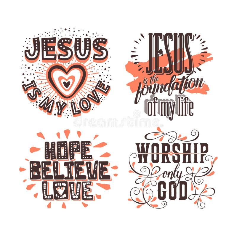 Het christelijke typografie en van letters voorzien Illustraties van bijbelse uitdrukkingen vector illustratie
