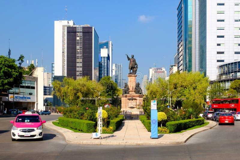Het Christopher Columbus-monument in Paseo DE La Reforma in Mexico-City royalty-vrije stock foto's