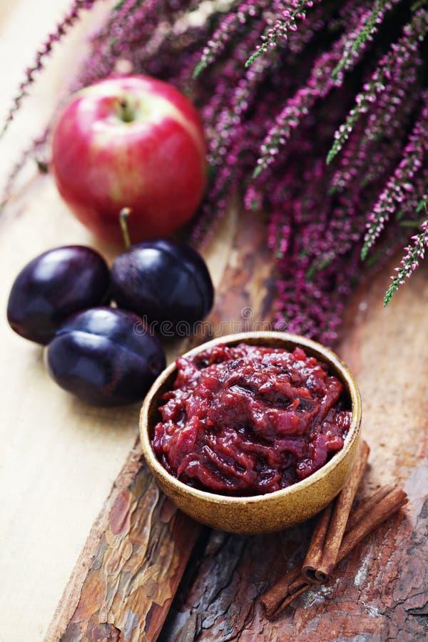 Het chutney van de pruim en van de appel stock afbeelding