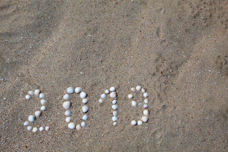 Het cijfer '2019 'wordt opgemaakt op zand met shells stock afbeeldingen