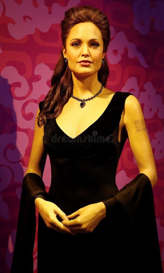 Het cijfer van de Angelina jolie was bij Mevrouw tussauds in Hongkong stock foto
