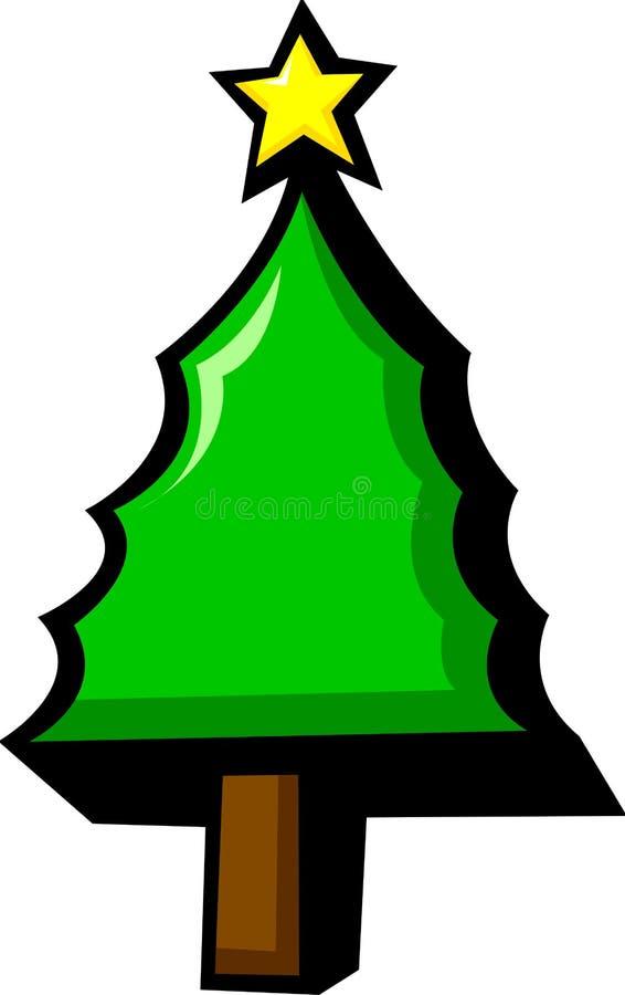 Het cijfer van de de pijnboomboom van Kerstmis met ster royalty-vrije illustratie