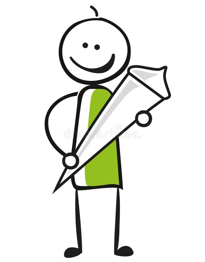 Het cijfer van de illustratiestok met suikergoedkegel of schoolkegel voor eerste dag in school vector illustratie