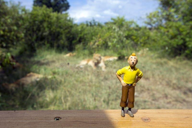 Het cijfer van de Tintinactie bij de voorzijde van troep leeuwen royalty-vrije stock afbeeldingen