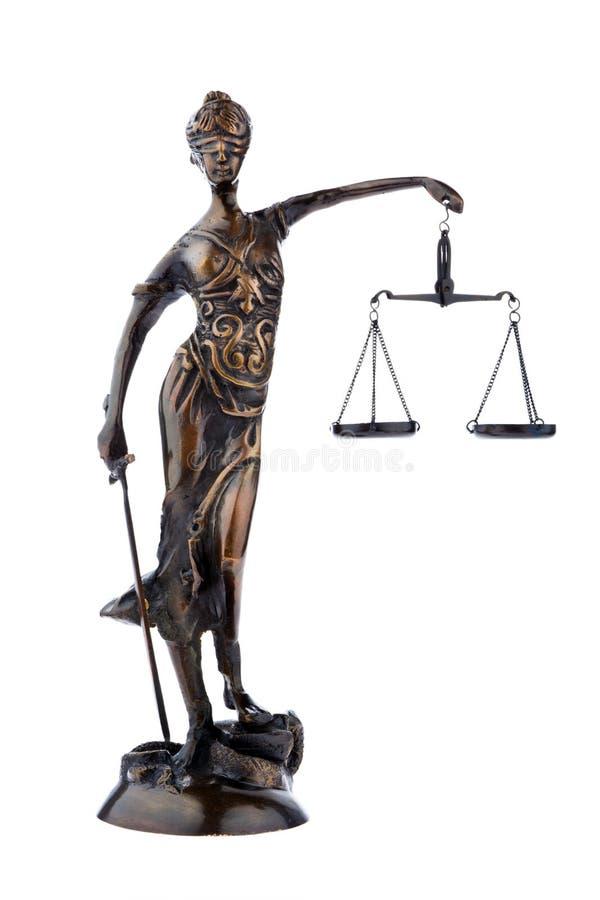 Het cijfer van Justitia met schalen. Wet en Rechtvaardigheid. royalty-vrije stock afbeelding