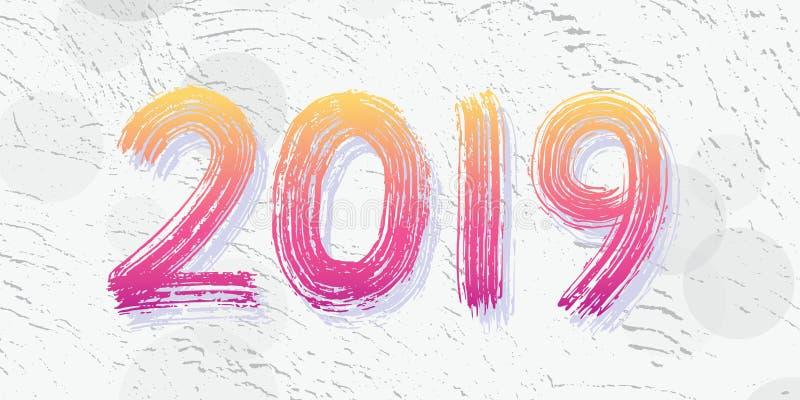 het cijferhand van 2019 het van letters voorzien Het droge effect van de borsteltextuur Gelukkig Nieuwjaar Vrolijke Kerstmis Grad royalty-vrije illustratie