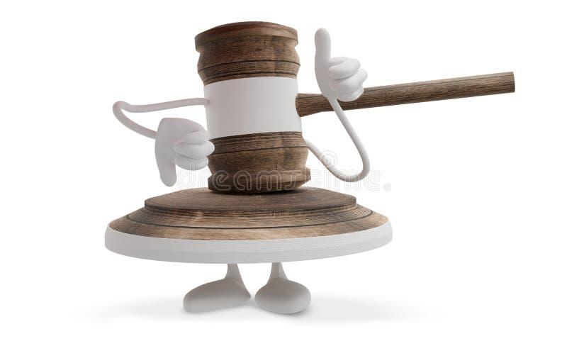 Het cijfermascotte van de rechters beduimelt de houten hamer omhoog 3d-illustratie vector illustratie