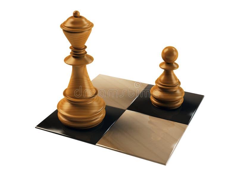 Het cijferpand en koningin van het schaak royalty-vrije illustratie