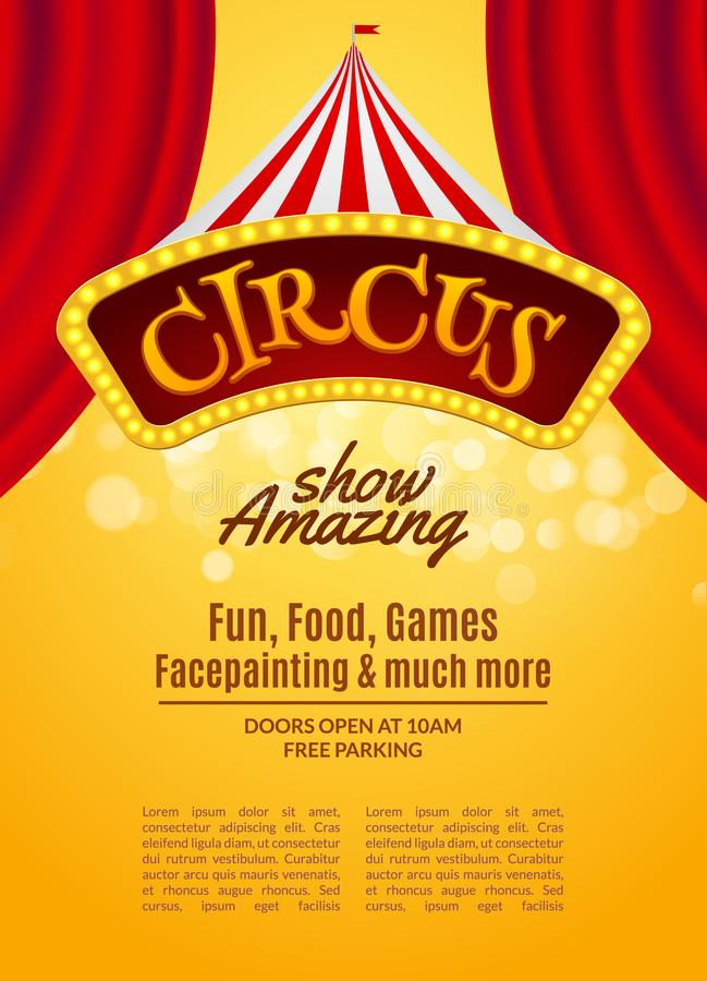 Het circus toont affichemalplaatje met teken en licht kader Feestelijke Circusuitnodiging Vectorcarnaval toont illustratie vector illustratie