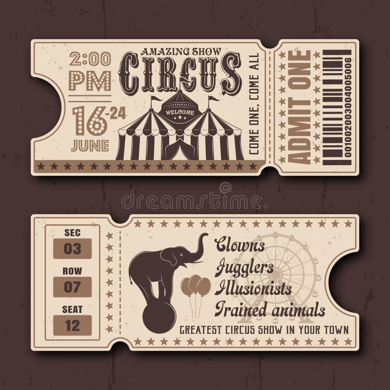 Het circus toont horizontale kaartjes vectormalplaatjes stock illustratie