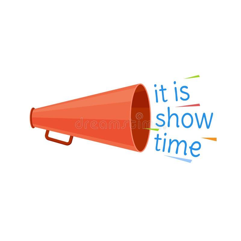 Het circus toont tijdprogramma Banner, aanplakbord met hoorn, affiche stock illustratie